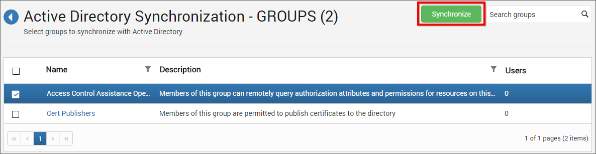 Active Directory Group Synchronize button