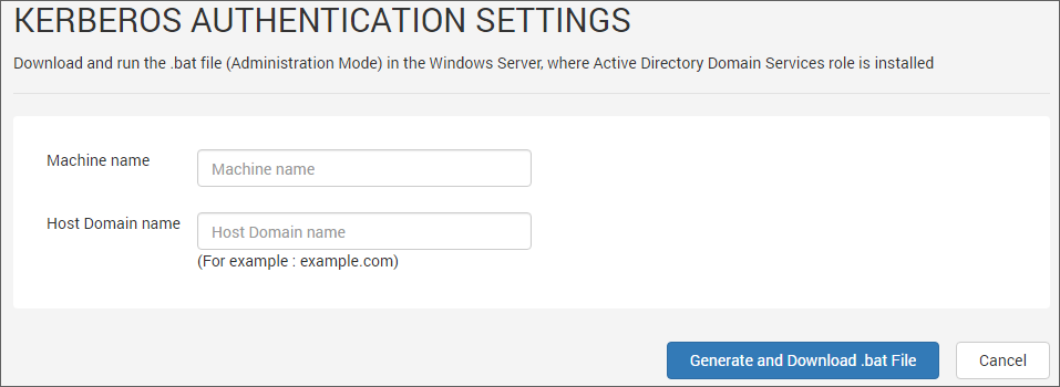 Kerberos Authentication Settings