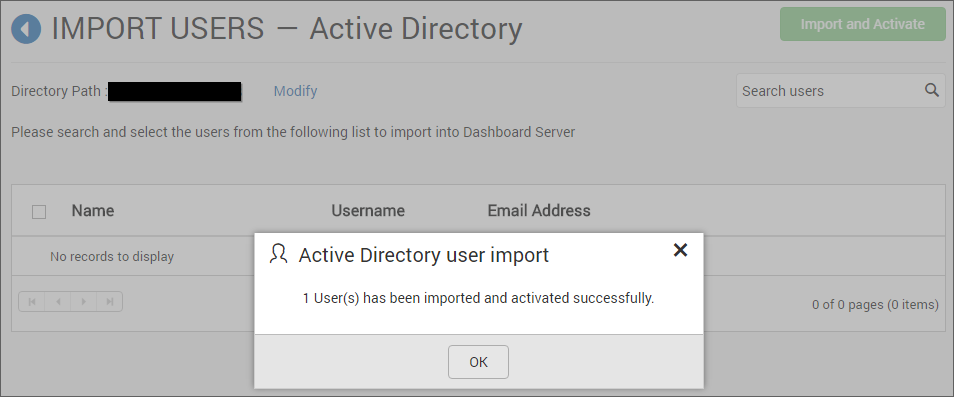 Success message after imported the Active Directory users